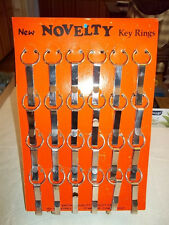VINTAGE 70s - 80s NOVELTY KEY RINGS STORE DISPLAY 24 BELT CLIPS WITH RING