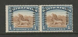South Africa 1929-31 1/- Official Brown & deep blue with Broken 'O' SG O10 Mint.