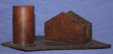 Vintage hand made leather desk pen pencil paper holder