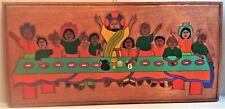 Last Supper: folk art rendition in bright colors on wood plaque