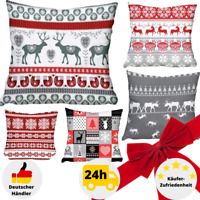 Kissenbezug 40x40 Baumwolle Winter Weihnachten Kissenhülle Grau Weihnachtsdeko