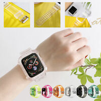 For Apple Watch 6 5 SE Silicone Transparent Band Sport Strap Case Cover 40 44 mm