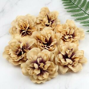 20-100Pcs 4'' Artificial Silk Fake Peony Flowers Light Brown Large Flower Head