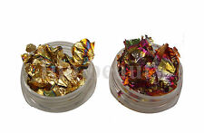 2 3g pots nail art foil leaf flakes old gold copper pot and for nails decoration