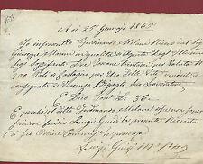 Ricevuta Manoscritta 1865 per N. 200 Pali di Castagno per Uso delle Viti Pistoia