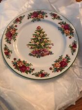 """ROYAL ALBERT OLD COUNTRY ROSES HOLIDAY CLASSIC  CHRISTMAS TREE PLATE 9"""" New"""