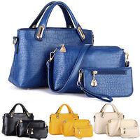 3 Pcs Luxury Women Handbag Shoulder Bags Tote Purse Leather Messenger Hobo Bag