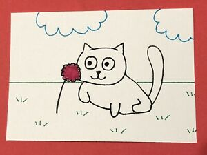 Original ACEO Art Card - Cat With Flower - Ink Drawing