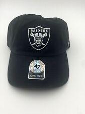 bd38f69aaf699 Oakland Raiders 47 BRAND NFL Clean up Strapback Adjustable Cap Black Dad Hat