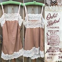 Vintage Orbit-Ladybird Lingerie Nylon Cami Camisole Short Slip Top Nightie Sz 34