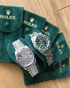 ROLEX TRAVEL POUCH WITH INSERT GOLD EMBOSSED CROWN GREEN VELVET