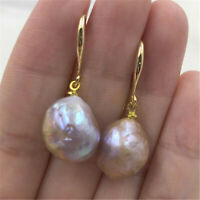 14-15MM Huge pink baroque pearl earrings 18K gold plating earbob aurora natural