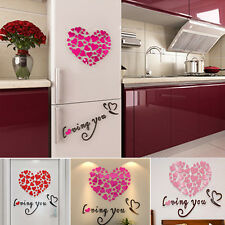Lovely Mirror Hearts Home 3D Wall Stickers Decor DIY Decal Removable 1 Set
