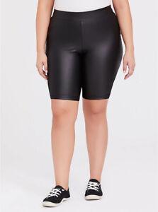 Torrid Bike Short Faux Leather Bicycle Biker High Waist Black Plus Size 6 30
