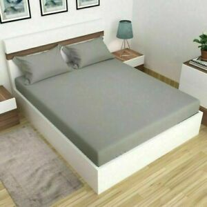Handmade Solid Plain Microfiber Bed Sheet Flat Sheet With Pillow Cover Gray