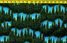Riverwoods Forest Trees Evergreen on Blue cotton quilt fabric BTY