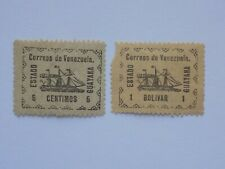(2) mhh 1903 Venezuelan Guayana State stamps off paper -5 cent. and 1 Bolivar