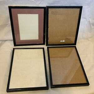 Photo Picture Frames Black with Glass Inserts 8x10 Lot of 4 - 1 with Matting
