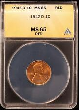1942-D LINCOLN WHEAT CENT GEM UNC ANACS MS65 RED US COIN 722