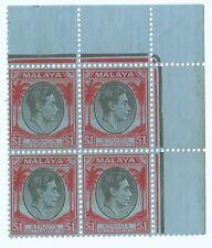 1937-41 Malaya Stamps Straits Settlements $ 1 dollar Block of 4 Mint (S-46)