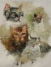ANDRE DLUHOS ORIGINAL OIL PAINTING Cat Feline Kitty Pets Domestic Hunter Animals