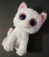 "TY BEANIE BOOS CASHMERE WHITE & PINK KITTEN KITTY CAT 6"" PLUSH NEEDS TLC NO TAG"