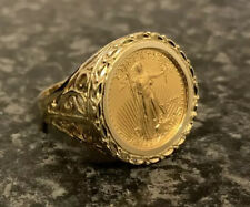 YELLOW GOLD UNITED STATES 2005 LIBERTY 1/10oz 22ct COIN 14K RING Size V