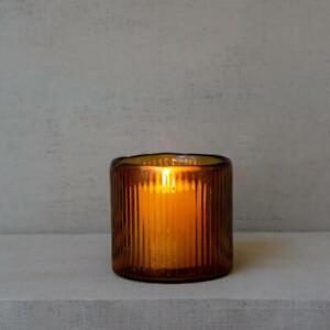 1 x Vintage Amber Orange Ribbed Glass Candle Holder, Tea Light Votive Pot 12cm