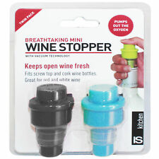 BREATHTAKING BLACK/BLUE WINE STOPPER - Keeps Wine Fresh! Vacuum Patent Tech *NEW