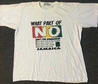 Vtg 90s Jamaica Tourist What Part Of No Shirt XL Funny Weed Vacation Rasta Humor