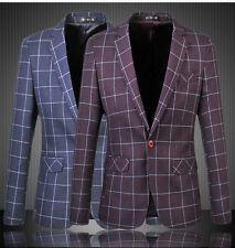 "Mens Chequered Blazer Jacket Adults Cotton Smart Slim-Fit Blazers Coat 33"" - 45"""