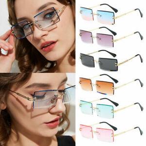 Small Rectangle Rimless Square Sunglasses 2021 Summer Style UV400 Unisex Glasses