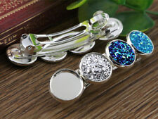 5pcs Silver Plated Hair Barrettes Hair Clips | 4 x 12mm Cabochon Settings