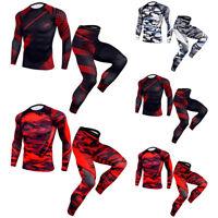 ❤️ Mens Compression Base Layer Top Gym Sports Workout Shirt Tops Long Pants Suit