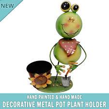 NEW Garden Frog Pot Plant Metal Decor Statue Ornament Figurine Outdoor Indoor