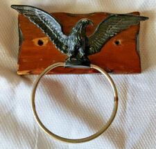 Vintage Antique Eagle Ring Wood Mounted Towel Holder Brass Single Ring
