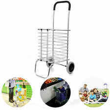 Two Wheel Aluminum Folding Portable Shopping Market Grocery Basket Cart Trolley