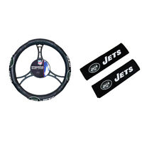 New NFL New York Jets Car Truck Steering Wheel Cover & Seat Belt Pad Covers