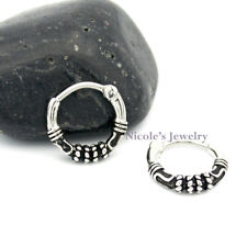 16g Surgical Steel Bar Rustica Septum Hinged Clicker Nose Ring Body Piercing