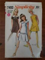 Vintage 1967 Simplicity 7493 Teen Size 13-14 Bust 33.5 Dress In Two Lengths