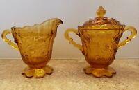 Vintage Creamer And Sugar Amber Roses Cut Depression Glass Rare Estate
