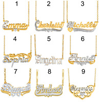 63 STYLE Personlized Sterling Silver 14KGold Double Plated Name Pendant Necklace