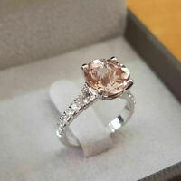 2.50Ct Round Cut Peach Morganite Engagement Wedding 14k White Gold Finish