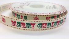 3 M Rosso E Verde Buon Natale Vintage font 16 mm Avorio GROS Grain Nastro, Wrap