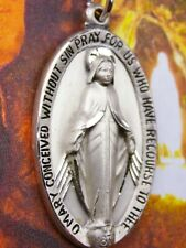 Lourdes Pilgrimage Vintage HUGE CREED 14 Gram Sterling Catholic Miraculous Medal