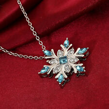 Girls Alloy Blue Crystal Snowflake Frozen Flower Silver Pendant Necklace Jewelry