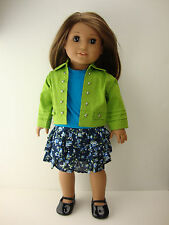 A 3 Pc Set Blue Shirt Bright Green Jacket and Blue Floral Skirt Made to Fit the