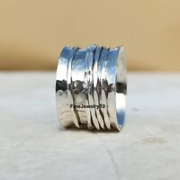 925 Sterling Silver Spinner Ring Wide Band Meditation Ring Handmade Ring  A158
