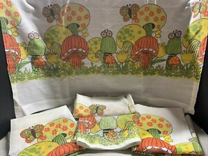 Vintage Mushroom Kitchen Curtains and Valance Orange Green Yellow Butterfly