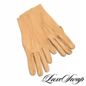 Vintage Anonymous Camel Tan Peccary Pigskin Leather Unlined Long Gloves 7 NR